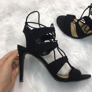 Mossimo Lace Up Suede Strappy Stiletto Sandals